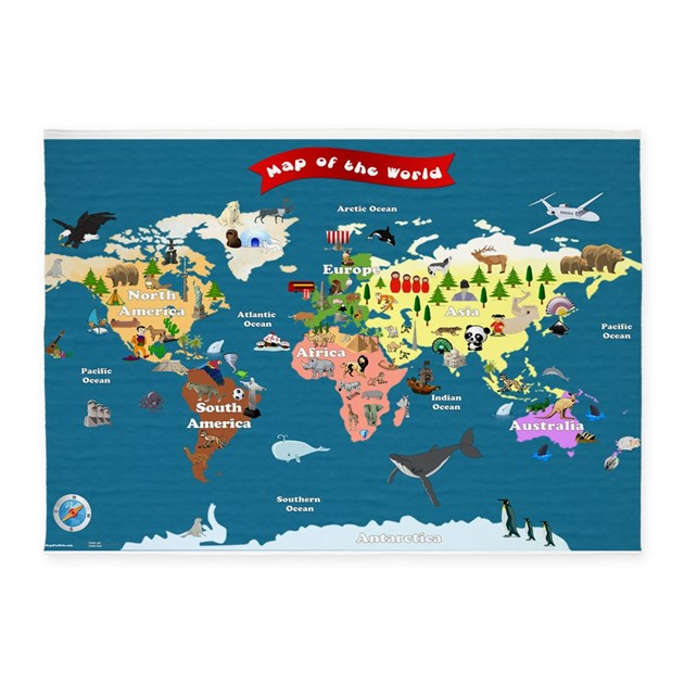 World Map Baby Rug: Lets Explore 5'x7'Area Rug By