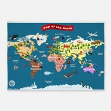 World Map For Kids - Lets Explore 5'x7'Area Rug