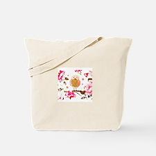 Pink Blossom Owl Tote Bag