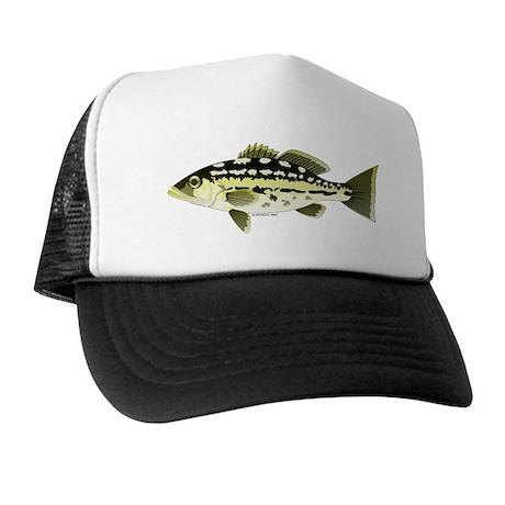 Calico kelp bass fish trucker hat by combatfishingoffshorefish for Bass fishing hats