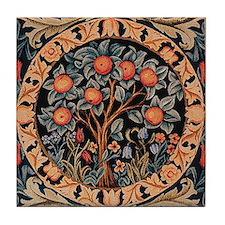 Orange Tree of Life Tile Coaster