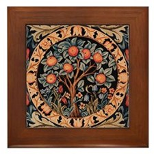 Orange Tree of Life Framed Tile