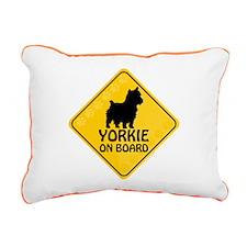Yorkie On Board Rectangular Canvas Pillow