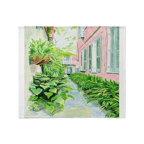 New Orleans Courtyard Throw Blanket