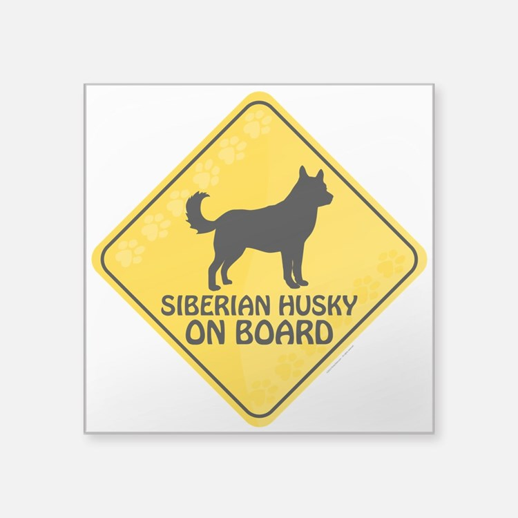 "Husky On Board Square Sticker 3"" x 3"""