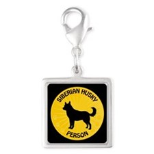 Siberian Husky Person Silver Square Charm
