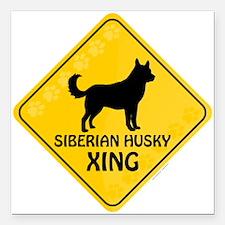 "Husky Xing Square Car Magnet 3"" x 3"""