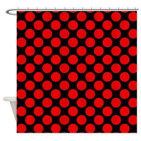 Black And Red Polka Dots Shower Curtain By Polkadotted