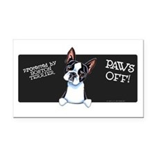 Boston Terrier Paws Off Rectangle Car Magnet