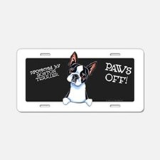 Boston Terrier Paws Off Aluminum License Plate