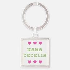 Nana Cecelia Square Keychain