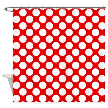 Red And White Polka Dots Shower Curtain By Polkadotted