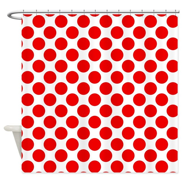 White And Red Polka Dot Shower Curtain By Polkadotted