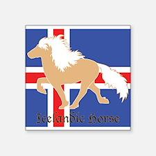 "Palomino Icelandic horse w/flag Square Sticker 3"""