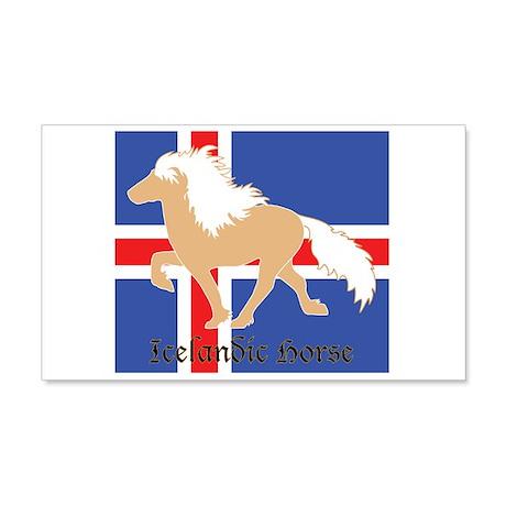 20x12 Wall Decal Palomino Icelandic horse w/ flag