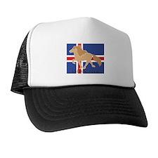 Dun Icelandic horse with Iceland flag Trucker Hat