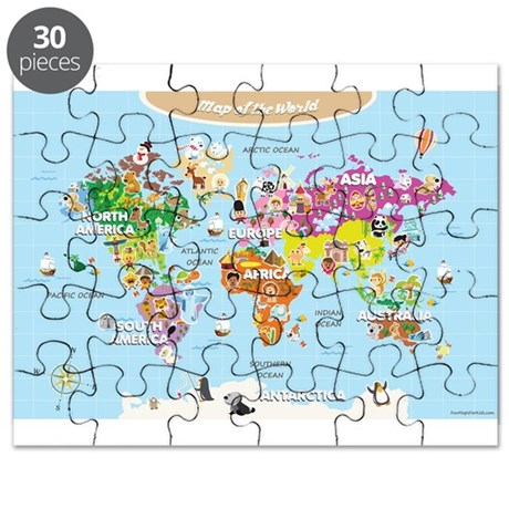 World Map For Kids - Cute and Colorful Puzzle by ...