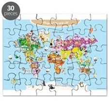 World Map For Kids - Cute and Colorful Puzzle