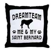 Saint Bernard Dog Designs Throw Pillow