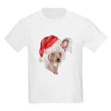 Christmas Chinese Crested dog Kids T-Shirt