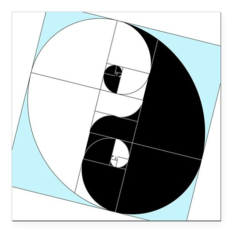 "Golden Ratio Yin and Yang Square Car Magnet 3"" x 3"