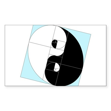 Golden Ratio Yin and Yang Sticker (Rectangle)