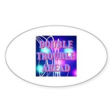 Double Trouble Ahead twins Oval Decal