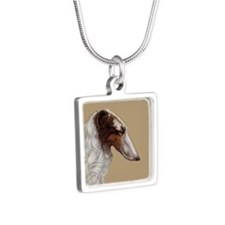 Art Deco Borzoi Head Silver Square Necklace