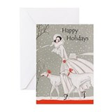 Art deco christmas Greeting Cards (10 Pack)