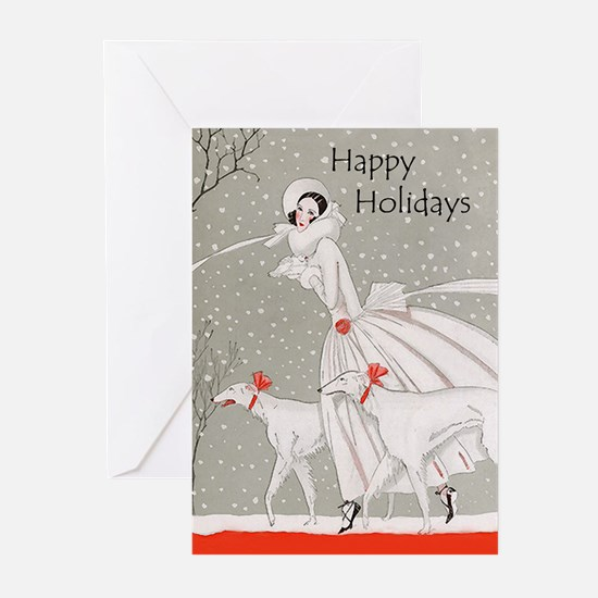 Art Deco Borzoi Holiday Cards 10 PK