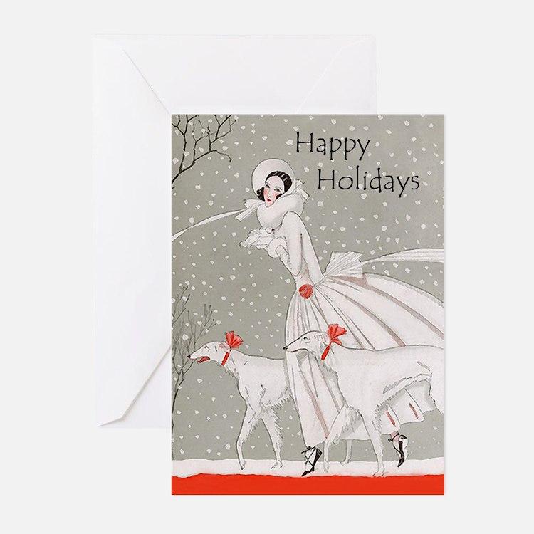 Art Deco Borzoi Holiday Cards 10 PK