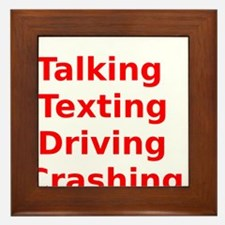 Talking Texting Driving Crashing Framed Tile