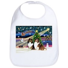 Xmas Magic-2 Shelties Bib