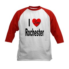 I Love Rochester (Front) Kids Baseball Jersey