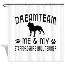 Staffordshire Bull Terrier Dog Designs Shower Curt