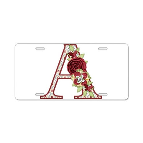 Monogram Letter A Aluminum License Plate