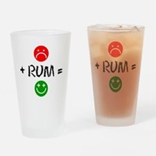 Plus Rum Equals Happy Drinking Glass