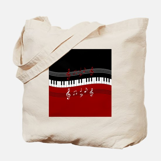 Stylish Piano keys and musical notes Tote Bag