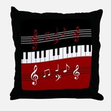 Stylish Piano keys and musical notes Throw Pillow