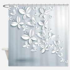 White Butterflies Shower Curtain