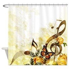Butterfly Music Notes Shower Curtain