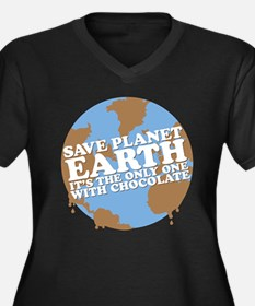 save earth Women's Plus Size V-Neck Dark T-Shirt