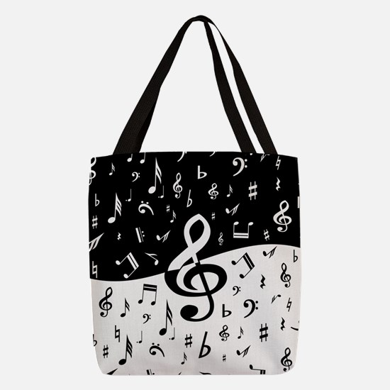 Stylish random musical notes Polyester Tote Bag
