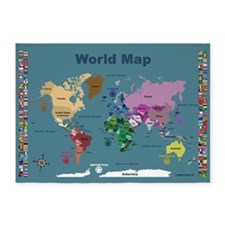 World Map For Kids With Flags 5'x7'area Rug