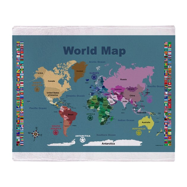 World Map Throw Rug: World Map For Kids With Flags Throw Blanket By FunMapsForKids