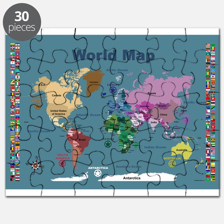 World Map For Kids With Flags Puzzle