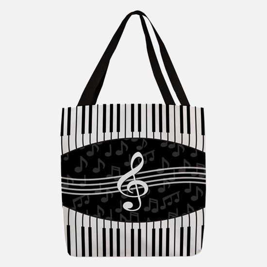 Stylish designer piano and musi Polyester Tote Bag