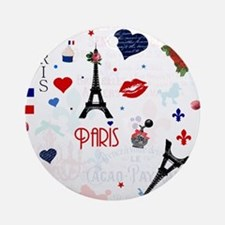 Paris pattern with Eiffel Tower Ornament (Round)
