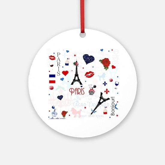 Paris pattern with Eiffel Tower Ornament (Round)