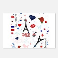 Paris pattern with Eiffel Tower Postcards (Package